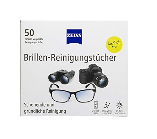 ZEISS Brillen-Reinigungstücher 50 Stk. alkoholfrei, zur schonenden & gründlichen Reinigung der Brillengläser