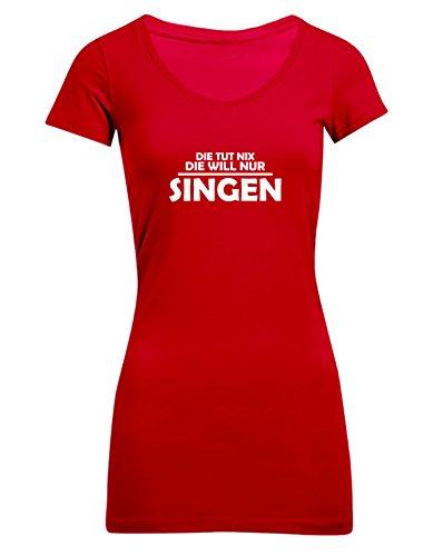 Die tut nix, die will nur Singen, Frauen T-Shirt Extra Lang - ID104204 cherryberry