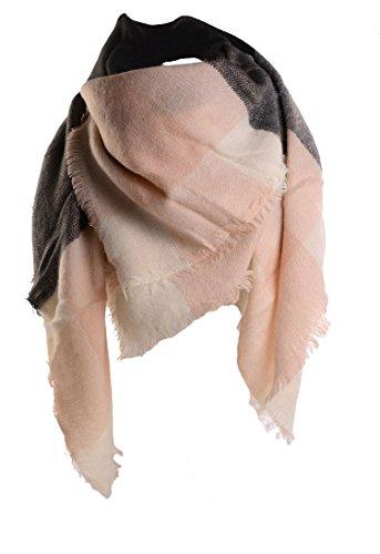 Damen Schal XXL Oversized Rechteckig PATCHWORK Herbstschal Winterschal Deckenschal weich warm Karoschal Poncho