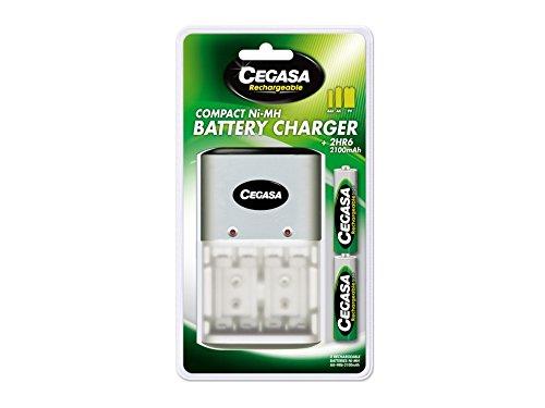 Cegasa HR06 – Chargeur Compact 2100 mAh + 2 Piles, Couleur Vert