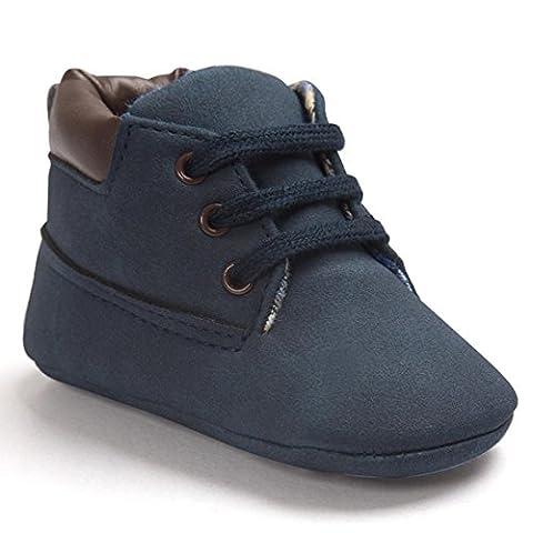 FNKDOR Baby Jungen Mädchen Lauflernschuhe Rutschfest Weiche Schuhe für Neugeborene 0-18 Monate (12-18 Monate, Dunkelblau)