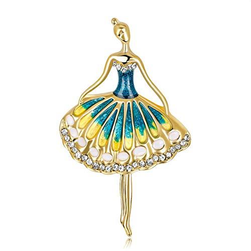 HUNANANA Schöne Kristall Balletttanz Mädchen Broschen Pins Blau Gelb Emaille Mary Kay Brosche Für Frauen Kleid Geburtstagsgeschenk