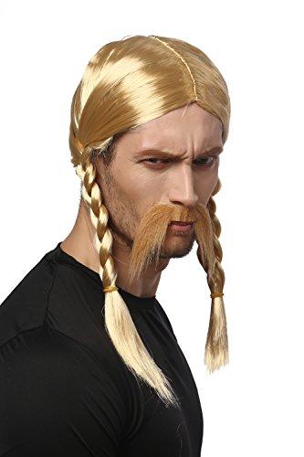 WIG ME UP ® - 91099-ZA06 Peluca y Barba Carnaval Halloween Rubio coletas Trenzadas Galo Germano Bárbaro Celta Vikingo Normando