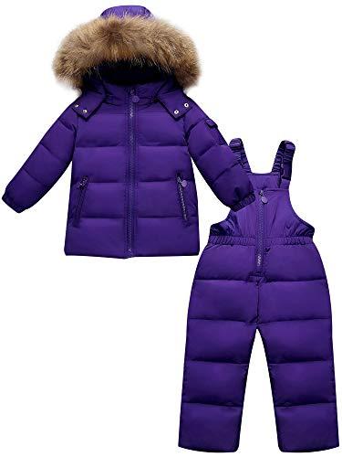 ZOEREA 2 Piezas Traje de Nieve Niños Abrigos Chaqueta con Capucha + Pantalones Niña Niño Ropa de Invierno Set Púrpura, Etiqueta 90