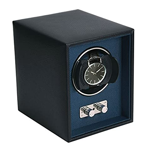 Dulwich Designs Single Black Genuine Leather Watch Winder with Blue Lining