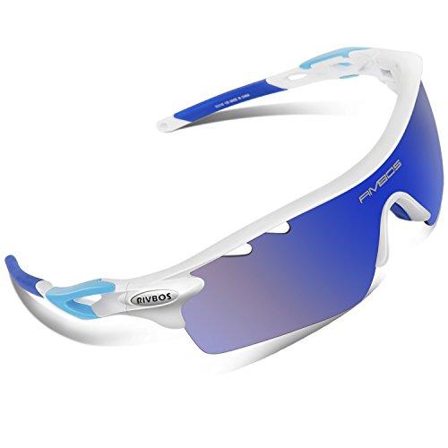 RIVBOS RBS901 Multi TR90 UV 400 Unzerbrechlich Outdoor Sport Brille Polarisiert Sonnenbrille Radbrille mit 5 wechselbare Linsen für Skilaufen Golf Radfahren Laufen Angeln Baseball (Weiß & Blau) Angels Baseball-team