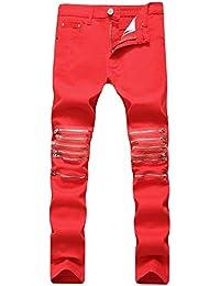e0a9090c1a Melodycp Pantalones de Jean Ajustados para Hombre