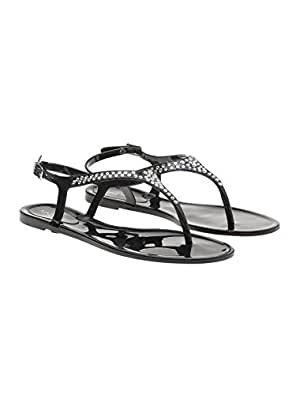 6ae7efa7b88330 Nine West Women Black Plastic Sandals  Buy Online at Low Prices in ...