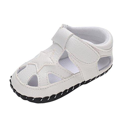 Babyschuhe cinnamou Sommer Sandale mit Weichen Sterne Krippe Schuhe Baby Leder Lauflernschuhe Junge Mädchen Kleinkind 0-6 Monate 6-12 Monate 12-18 Monate (12~18 Monate, Weiß) (Baby Schuhe Boy)