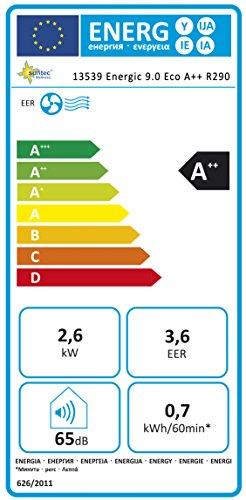 Suntec Wellness ENERGIC 9.0 Eco A++ R290 [pour des Pièces jusqu'à 48M³ (~20 m²), refroidissement + déshumidification, 9.000 BTU/h (2, 6 KW), classe d'efficacité énergétique A++]
