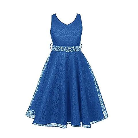 Free Fisher Mädchen Abendkleid Spitzenkleid, Blau, Gr.146( Herstellergröße: 10)