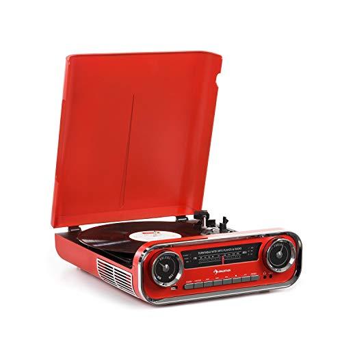 Auna Challenger LP Platine Vinyle avec Haut-Parleur stéréo • Platine Vinyle • Radio FM • 3W RMS • Bluetooth • USB • AUX in • 33, 45 et 78 TR/Min • Rouge