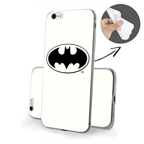 """finoo   iPhone 6 und 6S Weiche flexible lizensierte Silikon-Handy-Hülle   Transparente TPU Cover Schale mit """"Batman"""" Motiv   Tasche Case mit Ultra Slim Rundum-schutz   Batman Comic Batman Logo white middle"""