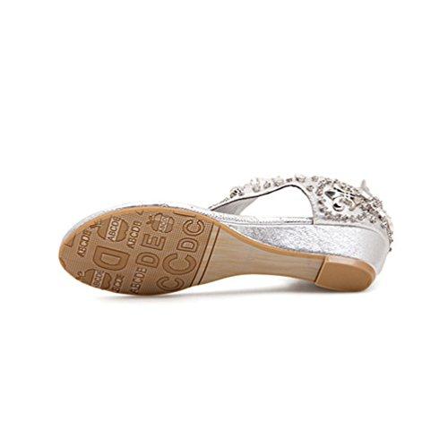 NiSeng Femmes Été Perlée Rhinestone Sandales Bohême T-Strap Clip Toe Sandales Argent