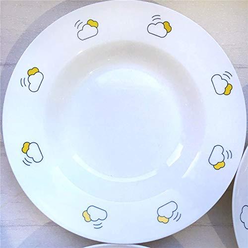 AAPP SHOP Kreative Nordic Wetter Serie frühstück westlichen Gericht Pasta Gericht Hause Platte Platte Bone China suppenteller tiefen Teller Strohhut Plattebewölkt (Tiefe Platte)