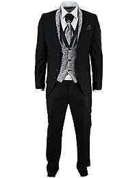 Costume smoking 4 pièces homme noir et argenté à motif cachemire col châle mariage soirée