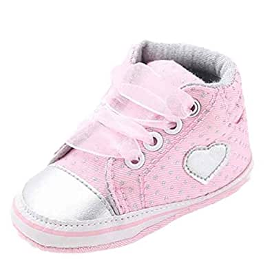 8290a95dab06 Voberry Baby-Girl's Lace up Soft Soled Sneakers Anti-Slip Heart Shape  Canvas Crib
