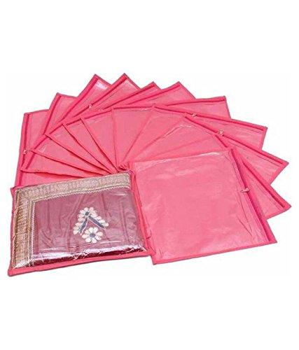 Fashion Bizz Pink Non Woven Saree Covers Bags Set of 12 Pcs