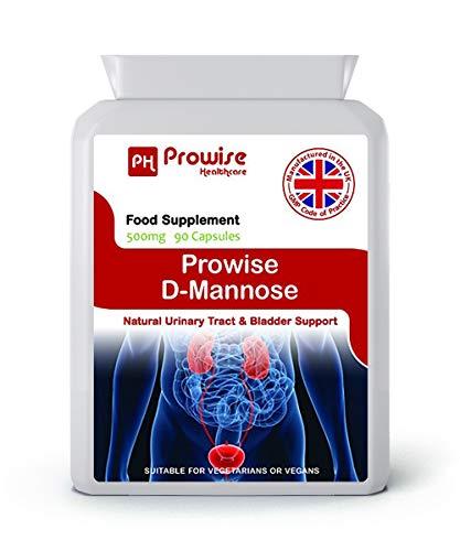D-Mannose 500mg 90 Kapseln - UK Hergestellt nach GMP Garantierte Qualität - Geeignet für Vegetarier und Veganer von Prowise Healthcare -