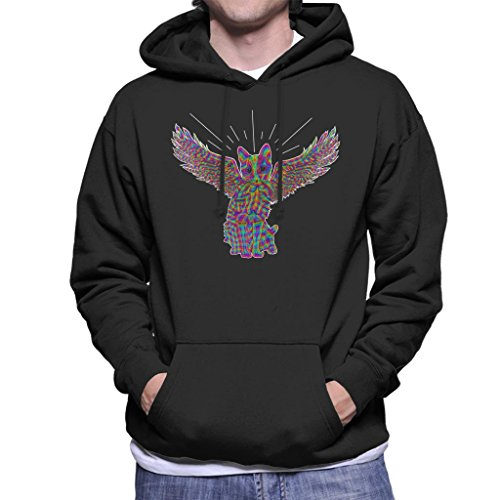 Rainbow Cat Angel Wings Sketch Men's Hooded Sweatshirt (Angel Wings Hooded Sweatshirt)
