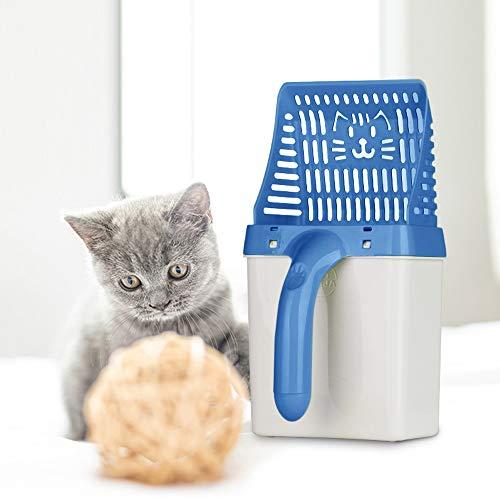 ASHOP Pala de Arena para Gatos, Sistema de Filtro de procesador de Caca de Mascotas/Litter Scoop Sifter Deep Shovel for Pets, Dog, Cat + 15 x Bolsa de Basura (30x16x15cm, Azul)