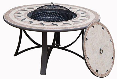 Table de jardin basse ronde HAWAI aspect fer forgé et mosaïque (noir, beige)