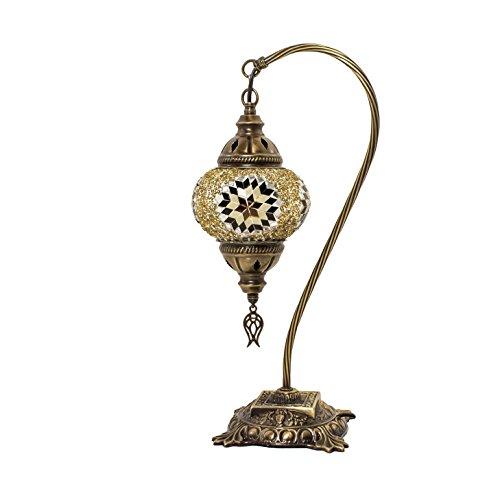 Mosaik Lampe-Türkisch Mosaik & Schreibtisch Lampe, atemberaubende, Einzigartige Globe Lampenschirm, marokkanischer Stil, Schwanenhals Serie Schwarz/Gelb -