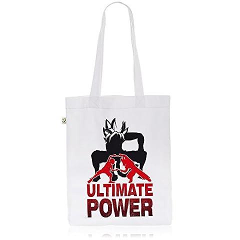 style3 Goku-Luffy Fusion Ultimate Power Biobaumwolle Beutel Jutebeutel Tasche Tote Bag, Farbe:Weiß