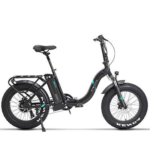 Fitifito klappbar Fatbike FT20 20 Zoll Elektrofahrrad Fatbike E-Bike Pedelec 48V 250W Bafang Heckmotor 7 Gang Shimano Schaltung Weiß Matt Schwarz