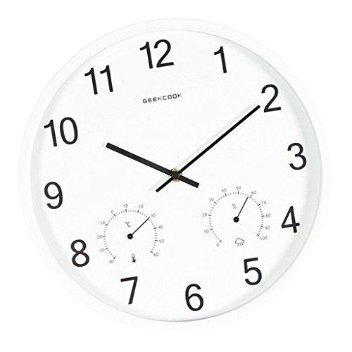 D DOLITY 12 \'\' Moderne Wanduhr Bürouhr Dekouhr Quarz Analog Uhr mit Thermometer und Hygrometer - Weiß