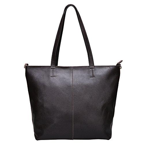 Damero Cuoio molle delle donne Tote Bag / borsa con tracolla, nero caffè