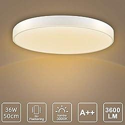 LED Deckenleuchte, LED Deckenlampe, Kaltweiß Warmweiß Rund Modern Led Deckenleuchten Schlafzimmer Küche Wohnzimmer Lampe für Balkon Flur Küche Wohnzimmer IP20[Energieklasse A+] (Warmweiß, 36W(50cm))