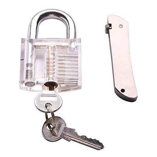 Lockmall Herramienta de apertura rápida portátil plegable, herramienta de cerrajero de gancho único, herramienta de cerrajero plegable 7 en 1 de acero inoxidable con candado seguro y transparente