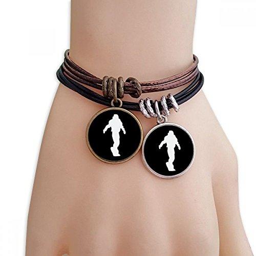 DIYthinker Damen Sport Skateboarden Schwarz Silhouette Armband Doppel-Leder-Seil-Armband Paar Set