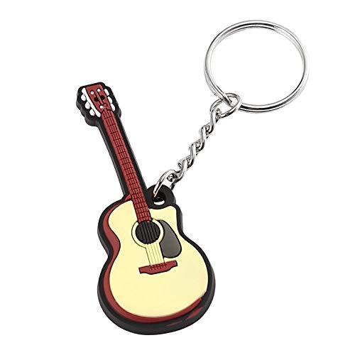 CreameBrulee Guitarra Popular Llavero de Silicona Llavero sostenedor de la Llave del Casquillo Colgante Llavero de Regalo