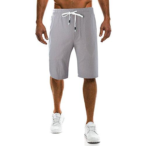 UJUNAOR Männer Caprihose Arbeitshose Cargohose Sommer Strand Kurze Hosen Trainieren Pants Sporthose Fitness Laufhose Elastisch Bund Sport Shorts(Grau,CN XL)