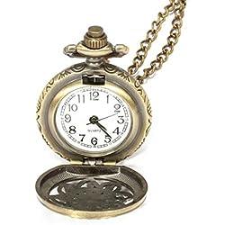 FACILLA® Quartz Pendant Pocket Watch Chain Vintage Bronze Arabic Numeral Hollow Flower