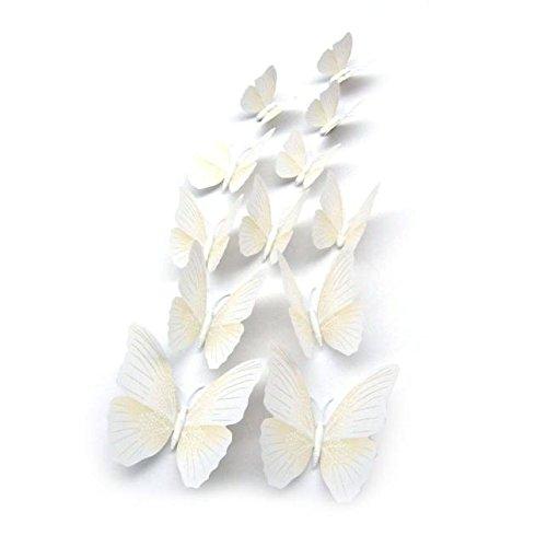 Schmetterling Wandaufkleber Kühlschrankmagnet Room Decor Aufkleber Applique Weiß Hausgarten Küche Zubehör dekorative Aufkleber Wandbilder ()