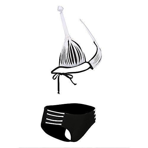 SONNOW Dame Seil Gefesselt Halter mit Dreieckigen Aufwärts Bikini Badeanzug Oberteile + Höschen Weiß