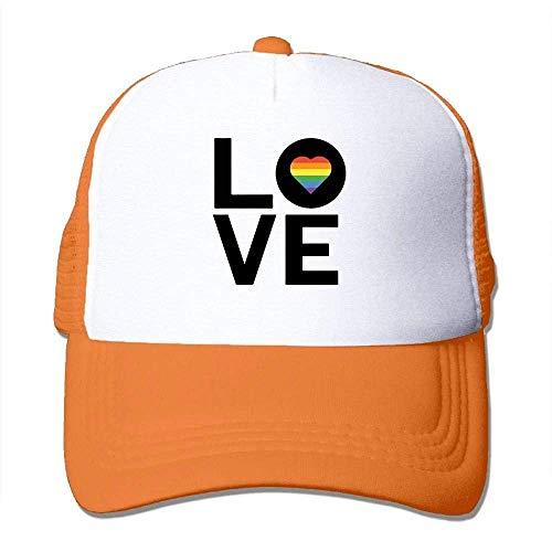 Hoswee Unisex Kappe/Baseballkappe, Love (Rainbow Heart) - Gay Men Women Mesh Back Core Baseball Cap Snapback Hat -