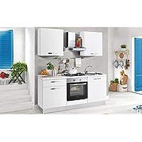 COM – Cuisine économique – Version Gauche cm. 180 x 60 x 216h – Comprend    Hotte, Four Ventilé, Tonneau lavabo, Plan de Cuisson à gaz avec 4 brûleurs,  ... f668ea2a2ea0