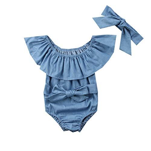 Pwtchenty baby Kinder RüSchen Strampler Bodysuit Volltonfarbe MäDchen Wort Schulter Spielanzug Kleider Stirnband ()