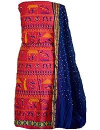 KATHIWALAS Women's Cotton Silk Kutch Work Bandhani Bandhej Unstitched Dress Material Suit Free