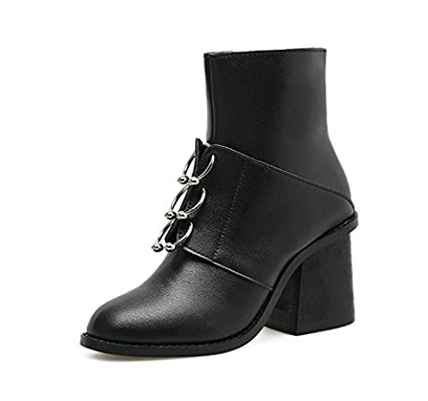 Women Autumn Artificial PU Bottes à cheville Round Toe Zip Up Simple Bottes OL Chunky 8 Cm Heel Mid Tube Ankle Shoes 35-39 ( Color : Black , Size : 38 )