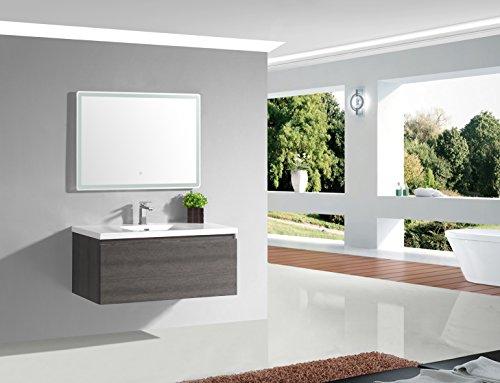 Jindoli Meuble Salle de Bain 100 cm Simple Vasque Gris Anthracite Pierre avec 1 tiroir, AquaTerra 100 x 46 x 40 ! Coup de ❤ !