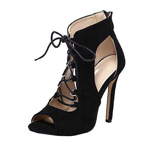 UFODB Damen Sandalen Open Toe Plateau Stiletto High Heel Pumps Schluepfen Cross Strap Buckle Party Schuhe Knöchelriemchen Damenschuhe Riemchen Tanzschuhe -
