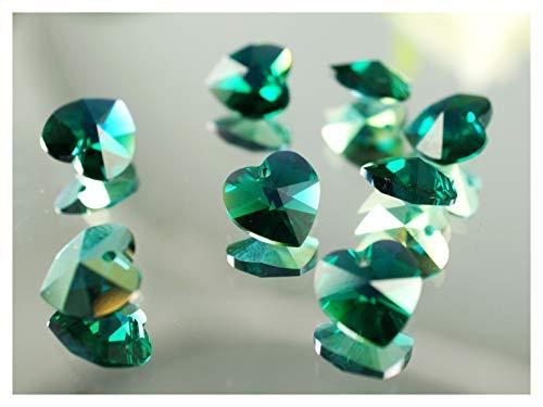 2 Stück Swarovski 6202 Kristall Herz Anhänger 10,3x10mm, Emerald AB (Ab Green Strass)