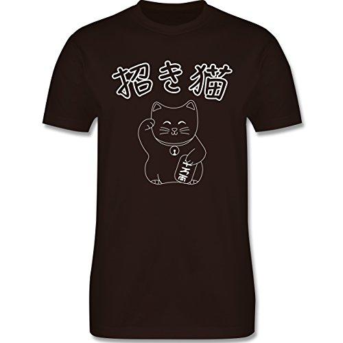 Katzen - Winkekatze- Japanisch - Herren Premium T-Shirt Braun
