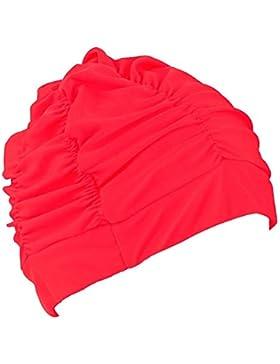 TININNA donne pieghe del panno del tessuto protezione Capelli protezioni Nuotata balneazione Cappello Rosso