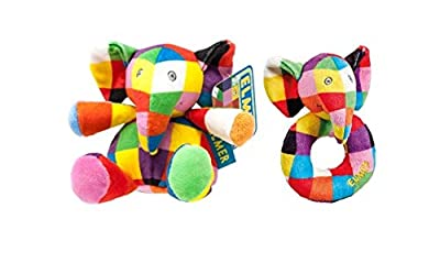 Elmer Rattle Plush Ring Rattle Twin Pack